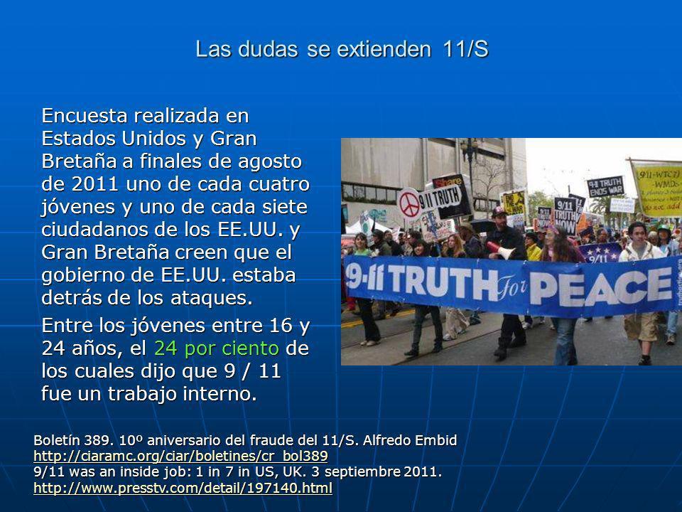 Las dudas se extienden 11/S Encuesta realizada en Estados Unidos y Gran Bretaña a finales de agosto de 2011 uno de cada cuatro jóvenes y uno de cada siete ciudadanos de los EE.UU.