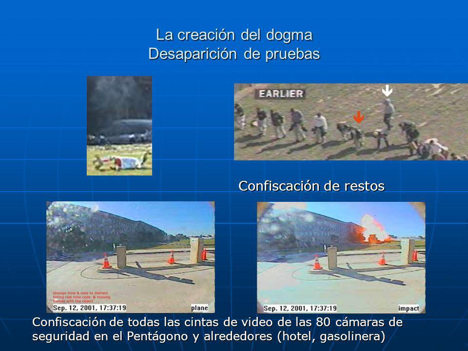La creación del dogma Desaparición de pruebas Confiscación de todas las cintas de video de las 80 cámaras de seguridad en el Pentágono y alrededores (hotel, gasolinera) Confiscación de restos