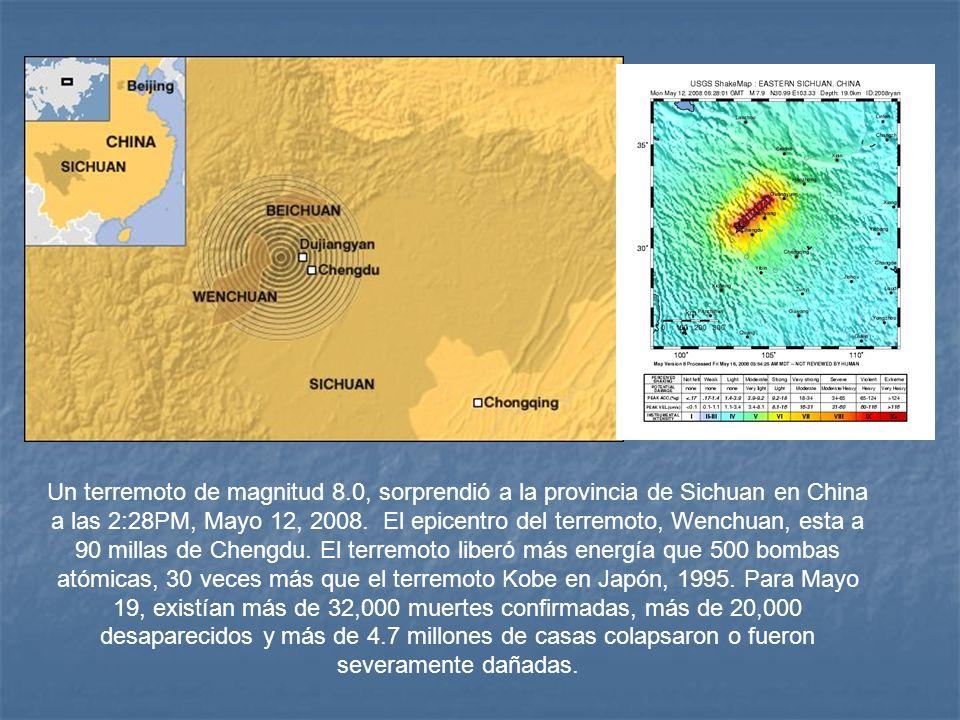 Un terremoto de magnitud 8.0, sorprendió a la provincia de Sichuan en China a las 2:28PM, Mayo 12, 2008.