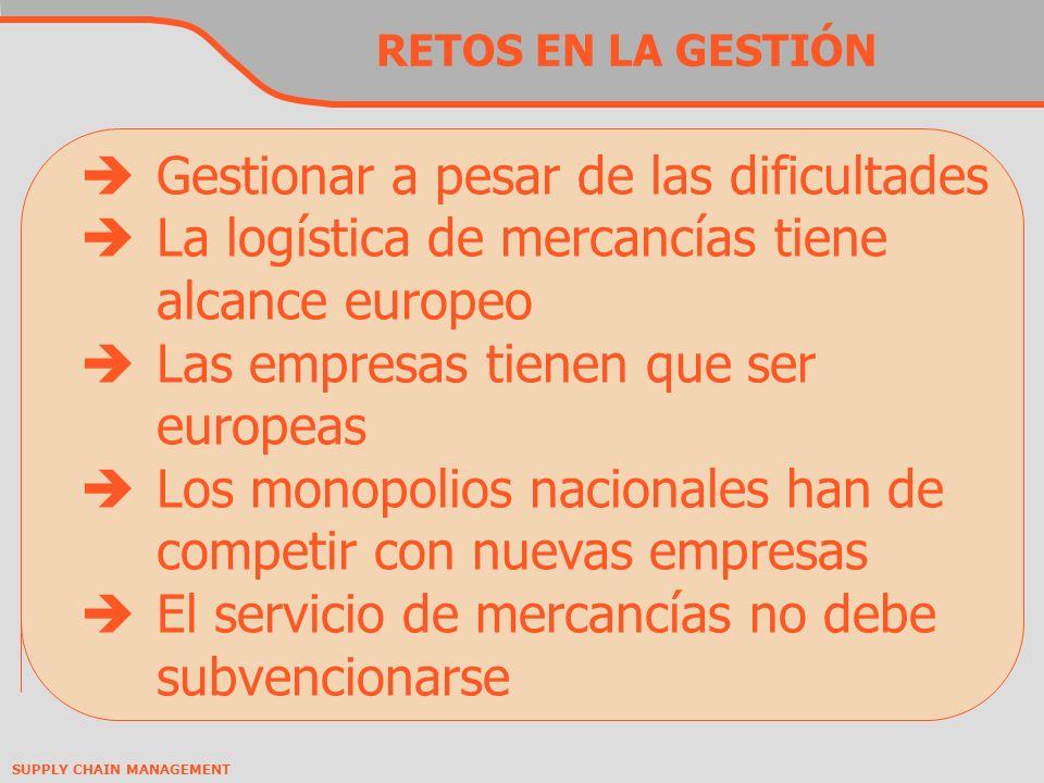 SUPPLY CHAIN MANAGEMENT RETOS EN LA GESTIÓN Gestionar a pesar de las dificultades La logística de mercancías tiene alcance europeo Las empresas tienen que ser europeas Los monopolios nacionales han de competir con nuevas empresas El servicio de mercancías no debe subvencionarse