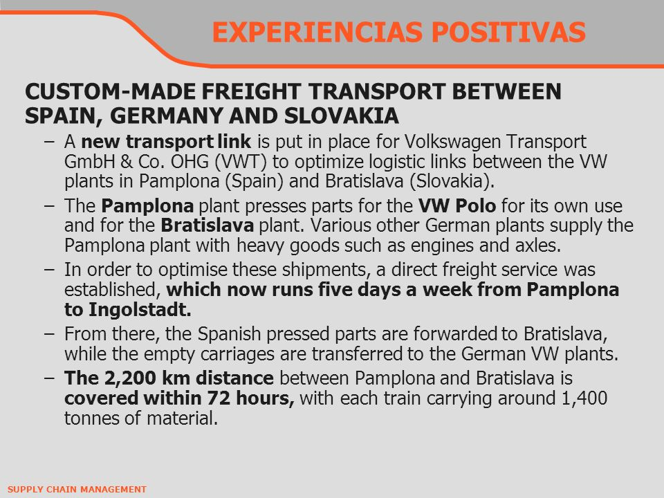 SUPPLY CHAIN MANAGEMENT EXPERIENCIAS POSITIVAS CUSTOM-MADE FREIGHT TRANSPORT BETWEEN SPAIN, GERMANY AND SLOVAKIA –A new transport link is put in place for Volkswagen Transport GmbH & Co.