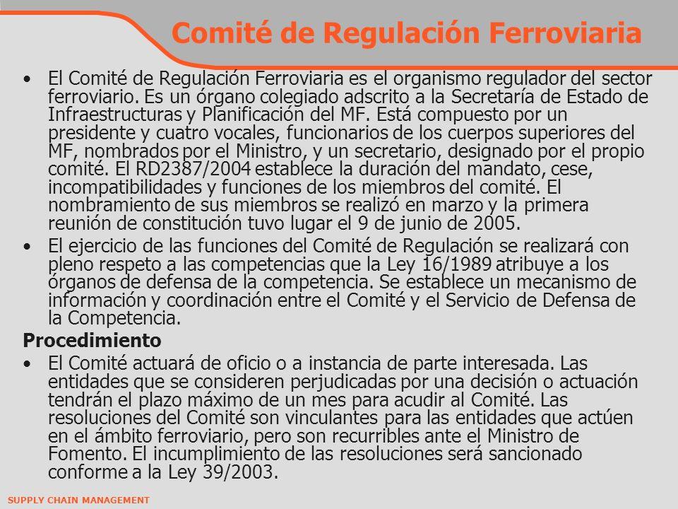 SUPPLY CHAIN MANAGEMENT Comité de Regulación Ferroviaria El Comité de Regulación Ferroviaria es el organismo regulador del sector ferroviario.