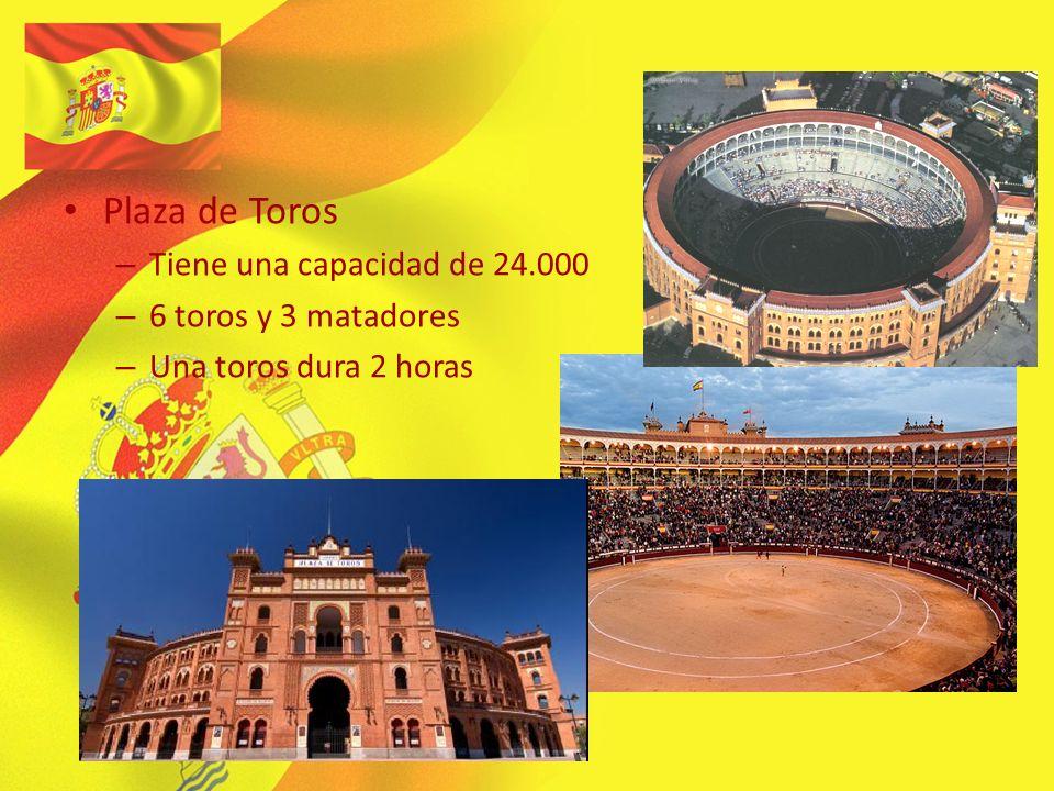 Plaza de Toros –T–Tiene una capacidad de 24.000 –6–6 toros y 3 matadores –U–Una toros dura 2 horas