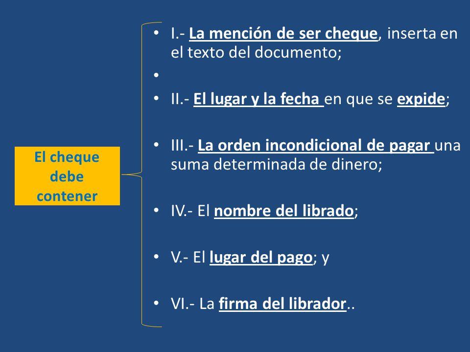 El cheque debe contener I.- La mención de ser cheque, inserta en el texto del documento; II.- El lugar y la fecha en que se expide; III.- La orden inc