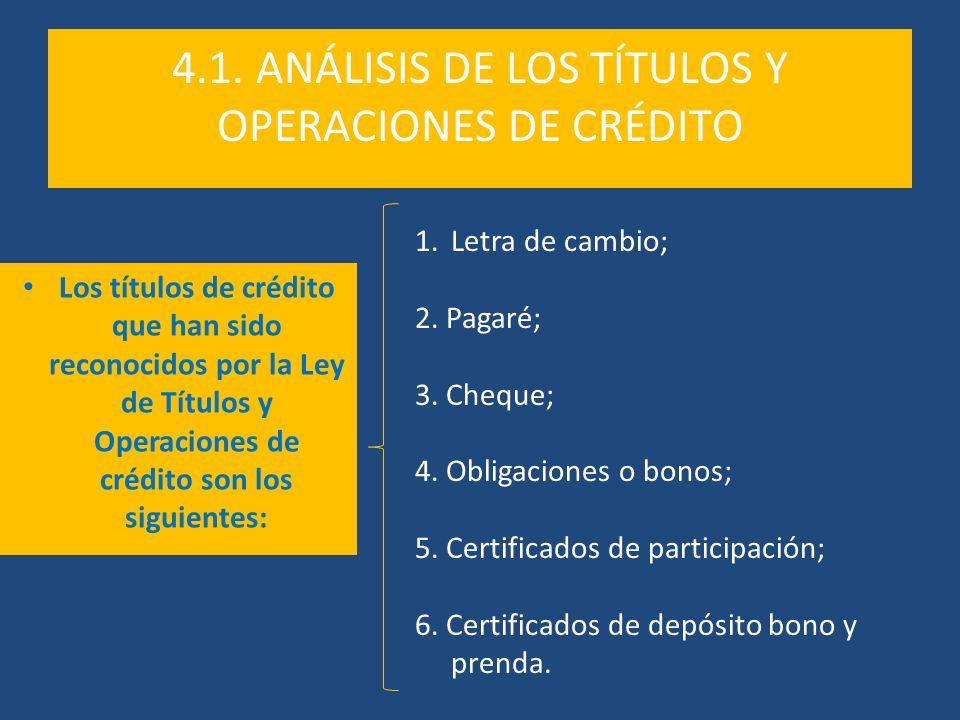 4.1. ANÁLISIS DE LOS TÍTULOS Y OPERACIONES DE CRÉDITO Los títulos de crédito que han sido reconocidos por la Ley de Títulos y Operaciones de crédito s
