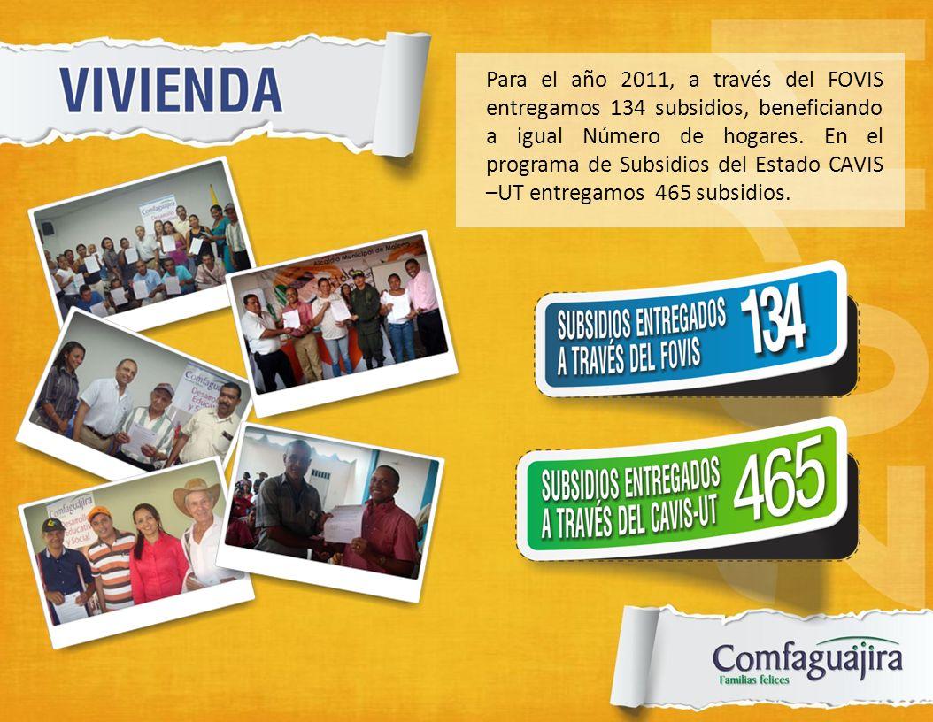 Para el año 2011, a través del FOVIS entregamos 134 subsidios, beneficiando a igual Número de hogares. En el programa de Subsidios del Estado CAVIS –U