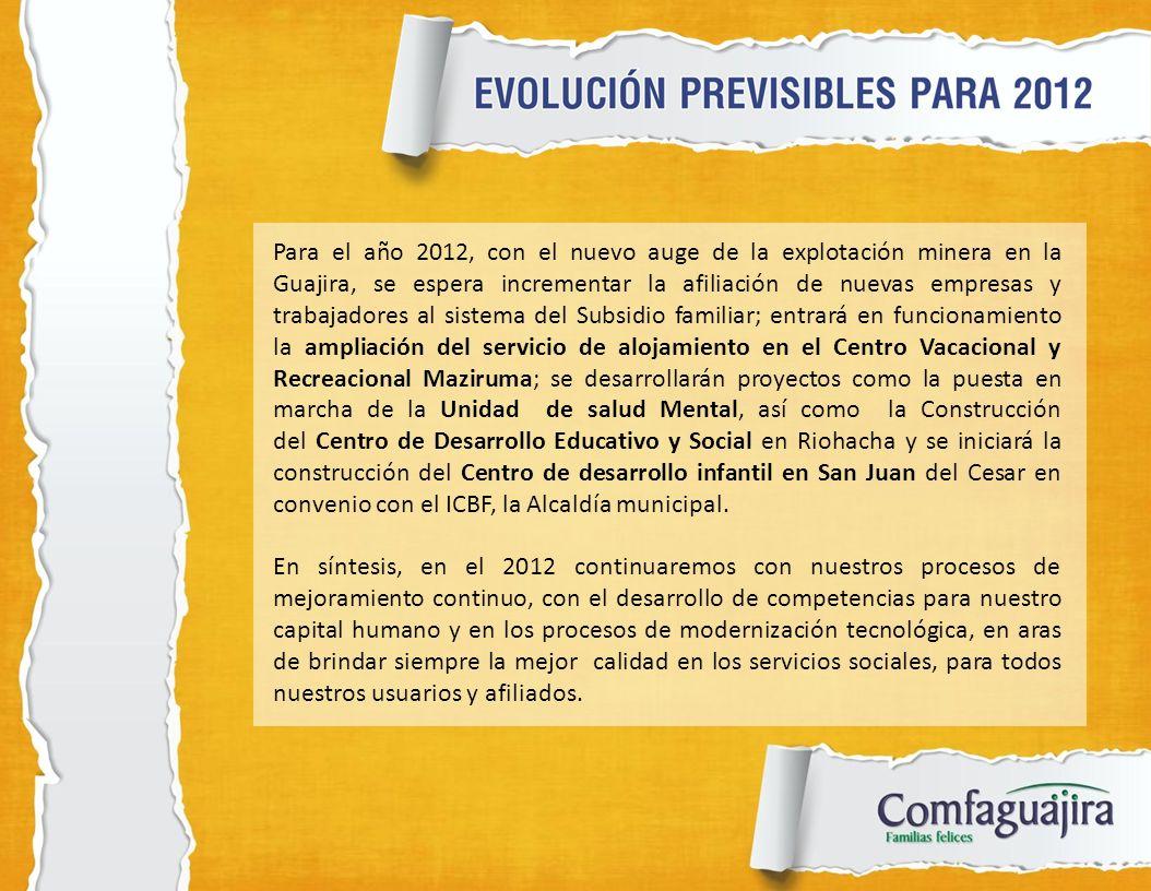 Para el año 2012, con el nuevo auge de la explotación minera en la Guajira, se espera incrementar la afiliación de nuevas empresas y trabajadores al s