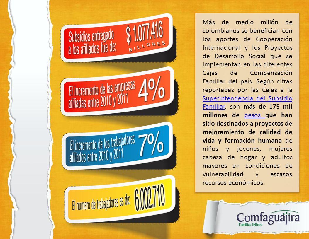 Más de medio millón de colombianos se benefician con los aportes de Cooperación Internacional y los Proyectos de Desarrollo Social que se implementan