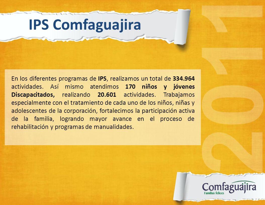 En los diferentes programas de IPS, realizamos un total de 334.964 actividades. Así mismo atendimos 170 niños y jóvenes Discapacitados, realizando 20.