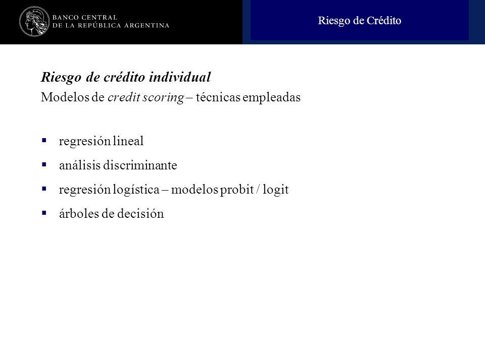 Nombre de la presentación en cuerpo 17 Riesgo de crédito individual Modelos de credit scoring – técnicas empleadas regresión lineal análisis discrimin
