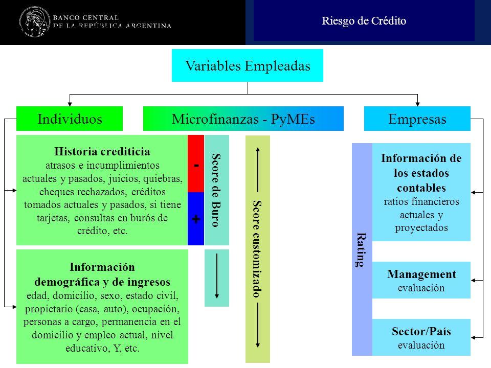 Nombre de la presentación en cuerpo 17 Variables empleadas Variables Empleadas EmpresasIndividuos Historia crediticia atrasos e incumplimientos actual
