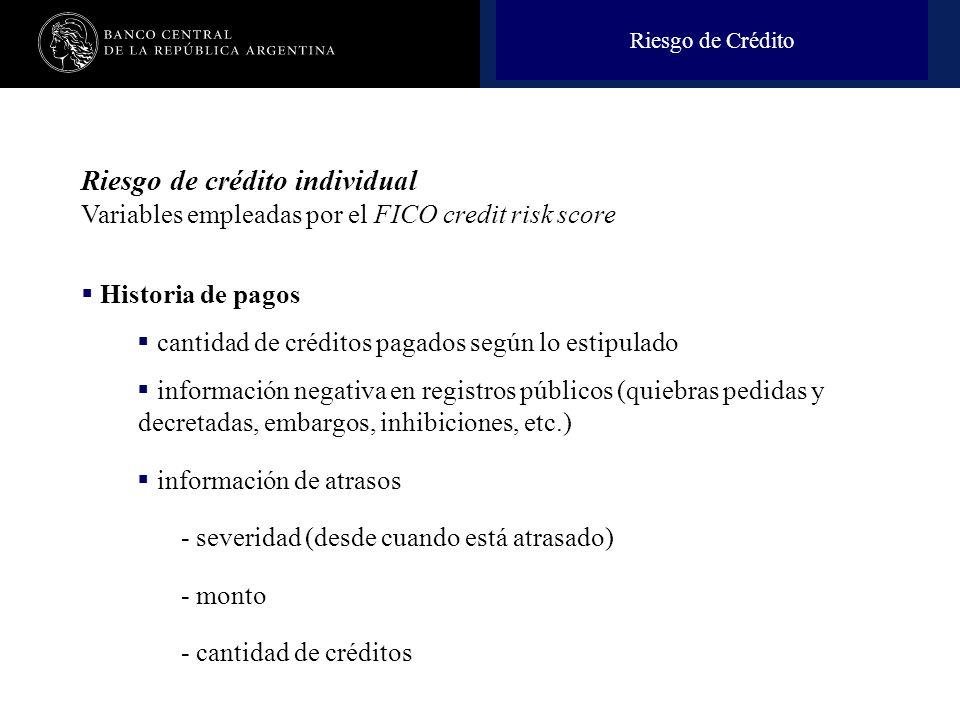 Nombre de la presentación en cuerpo 17 Riesgo de Crédito Riesgo de crédito individual Variables empleadas por el FICO credit risk score Historia de pa