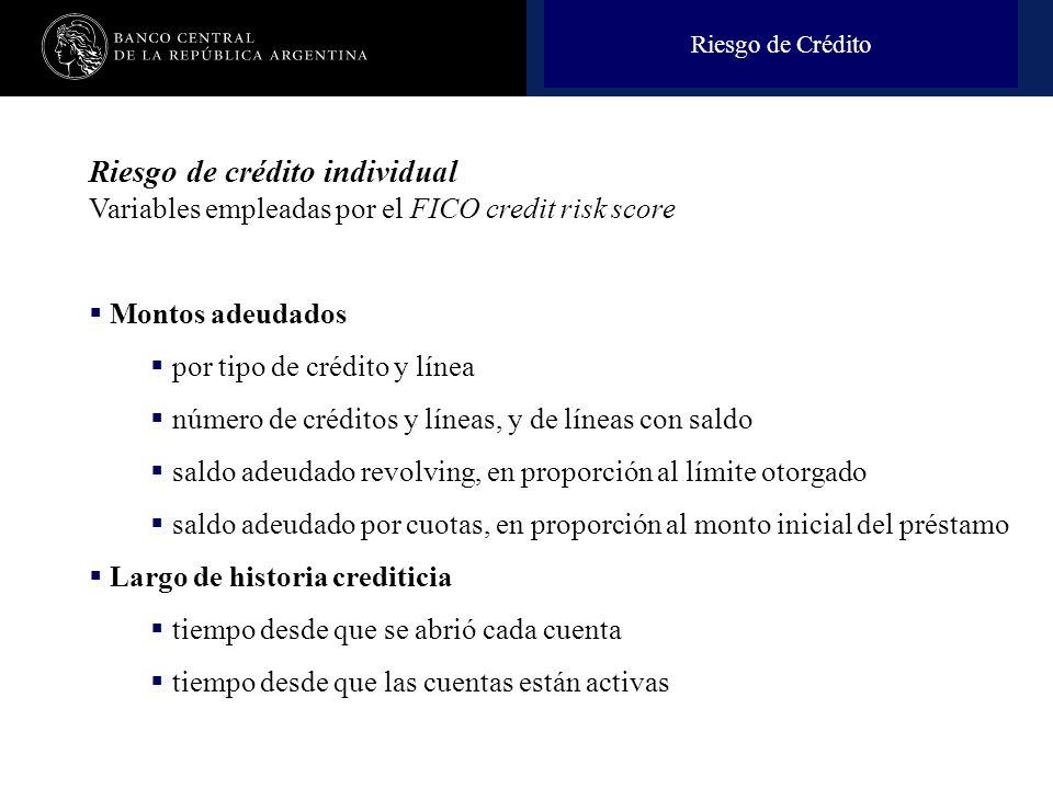 Nombre de la presentación en cuerpo 17 Riesgo de Crédito Riesgo de crédito individual Variables empleadas por el FICO credit risk score Montos adeudad