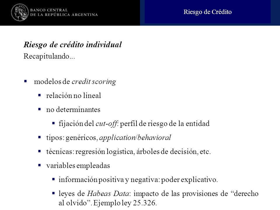 Nombre de la presentación en cuerpo 17 Riesgo de crédito individual Recapitulando... modelos de credit scoring relación no lineal no determinantes fij