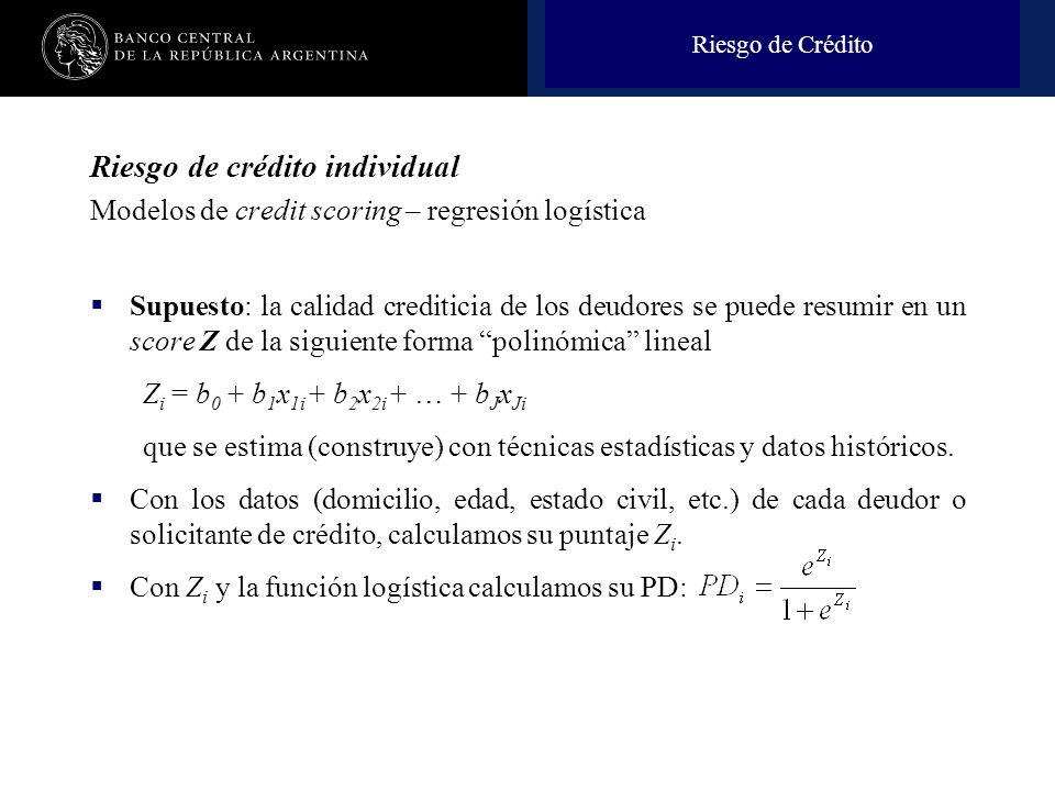 Nombre de la presentación en cuerpo 17 Riesgo de crédito individual Modelos de credit scoring – regresión logística Supuesto: la calidad crediticia de los deudores se puede resumir en un score Z de la siguiente forma polinómica lineal Z i = b 0 + b 1 x 1i + b 2 x 2i + … + b J x Ji que se estima (construye) con técnicas estadísticas y datos históricos.