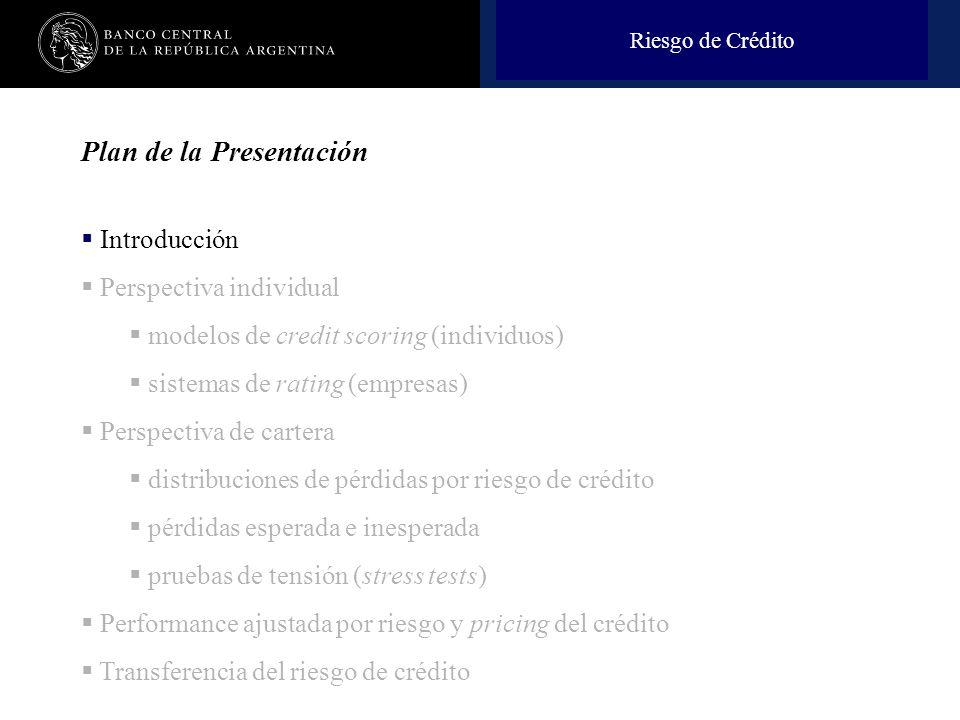 Nombre de la presentación en cuerpo 17 Plan de la Presentación Introducción Perspectiva individual modelos de credit scoring (individuos) sistemas de