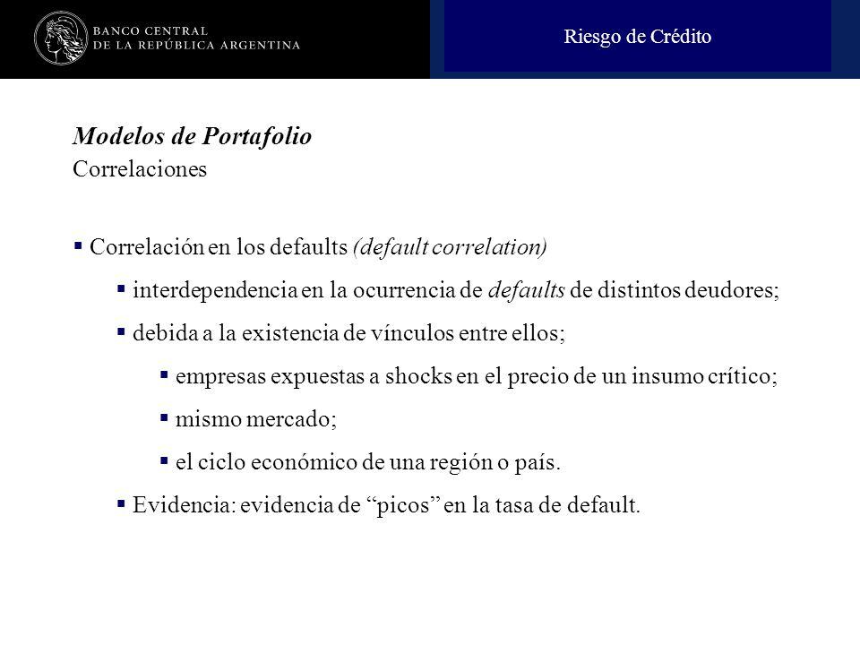 Nombre de la presentación en cuerpo 17 Modelos de Portafolio Correlaciones Correlación en los defaults (default correlation) interdependencia en la oc