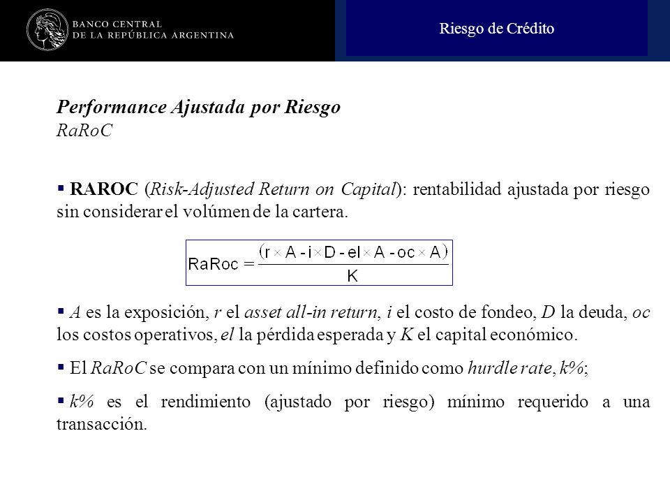 Nombre de la presentación en cuerpo 17 Performance Ajustada por Riesgo RaRoC RAROC (Risk-Adjusted Return on Capital): rentabilidad ajustada por riesgo