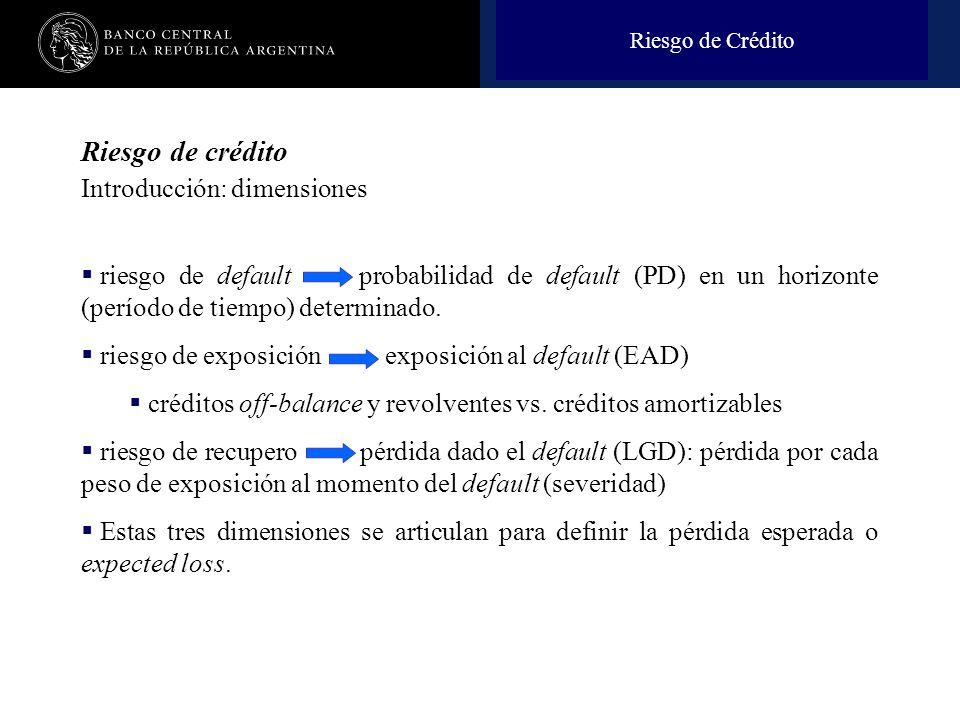 Nombre de la presentación en cuerpo 17 Riesgo de crédito Introducción: dimensiones riesgo de default probabilidad de default (PD) en un horizonte (período de tiempo) determinado.