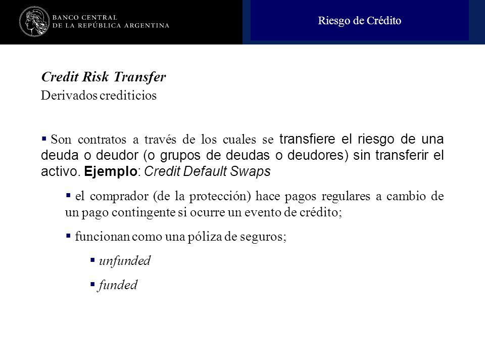 Nombre de la presentación en cuerpo 17 Credit Risk Transfer Derivados crediticios Son contratos a través de los cuales se transfiere el riesgo de una deuda o deudor (o grupos de deudas o deudores) sin transferir el activo.