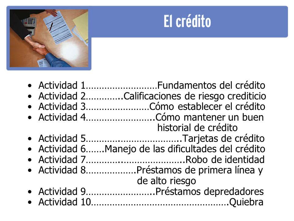 Actividad 1………………………Fundamentos del crédito Actividad 2…………..Calificaciones de riesgo crediticio Actividad 3……………………Cómo establecer el crédito Actividad 4……………………..Cómo mantener un buen historial de crédito Actividad 5………….…………………..Tarjetas de crédito Actividad 6…….Manejo de las dificultades del crédito Actividad 7…………..…………………..Robo de identidad Actividad 8……………….Préstamos de primera línea y de alto riesgo Actividad 9……………………..Préstamos depredadores Actividad 10…………………………………………….Quiebra