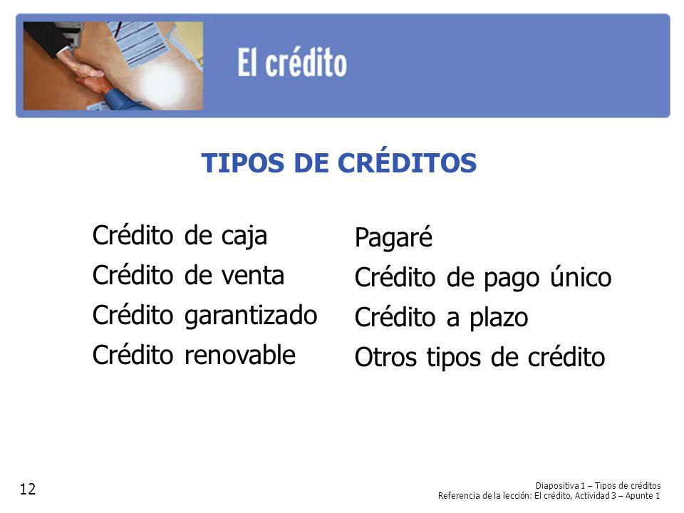 Diapositiva 1 – Tipos de créditos Referencia de la lección: El crédito, Actividad 3 – Apunte 1 TIPOS DE CRÉDITOS Crédito de caja Crédito de venta Créd