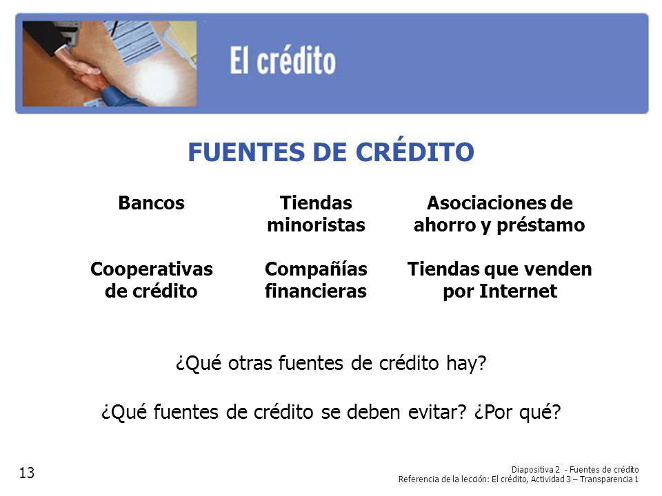 Diapositiva 2 - Fuentes de crédito Referencia de la lección: El crédito, Actividad 3 – Transparencia 1 FUENTES DE CRÉDITO ¿Qué otras fuentes de crédit