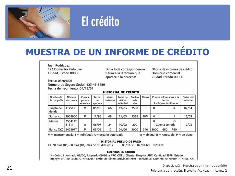 MUESTRA DE UN INFORME DE CRÉDITO 21 Diapositiva 3 – Muestra de un informe de crédito Referencia de la lección: El crédito, Actividad 4 – Apunte 2