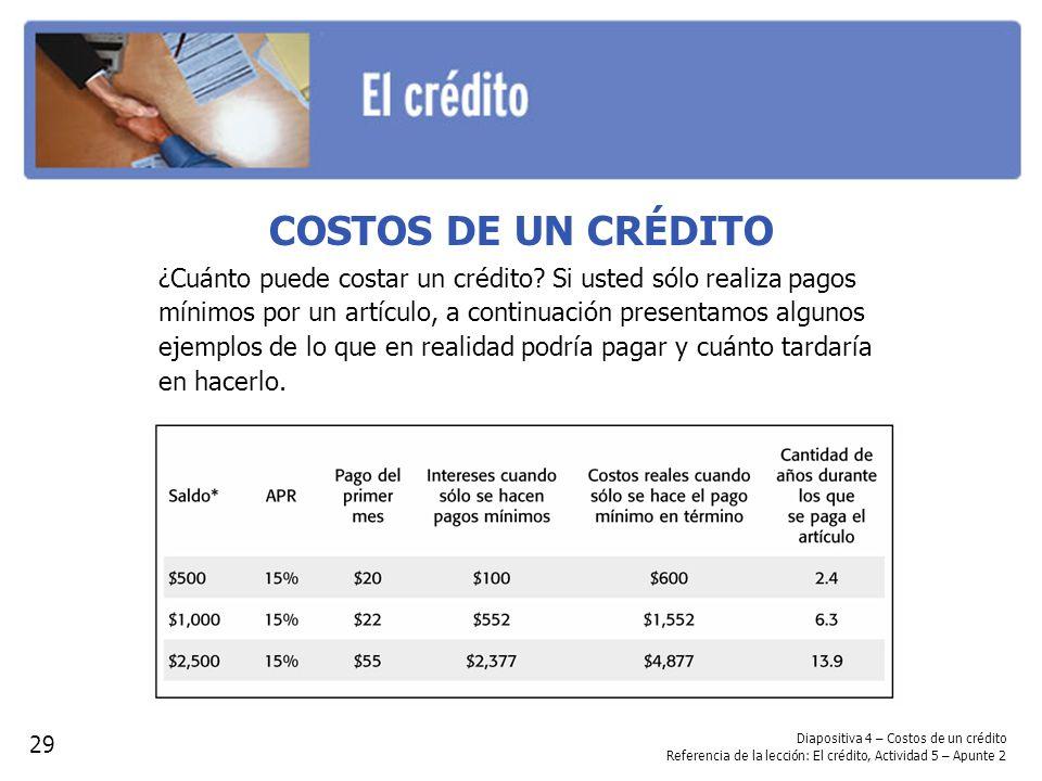 Diapositiva 4 – Costos de un crédito Referencia de la lección: El crédito, Actividad 5 – Apunte 2 29 COSTOS DE UN CRÉDITO ¿Cuánto puede costar un créd