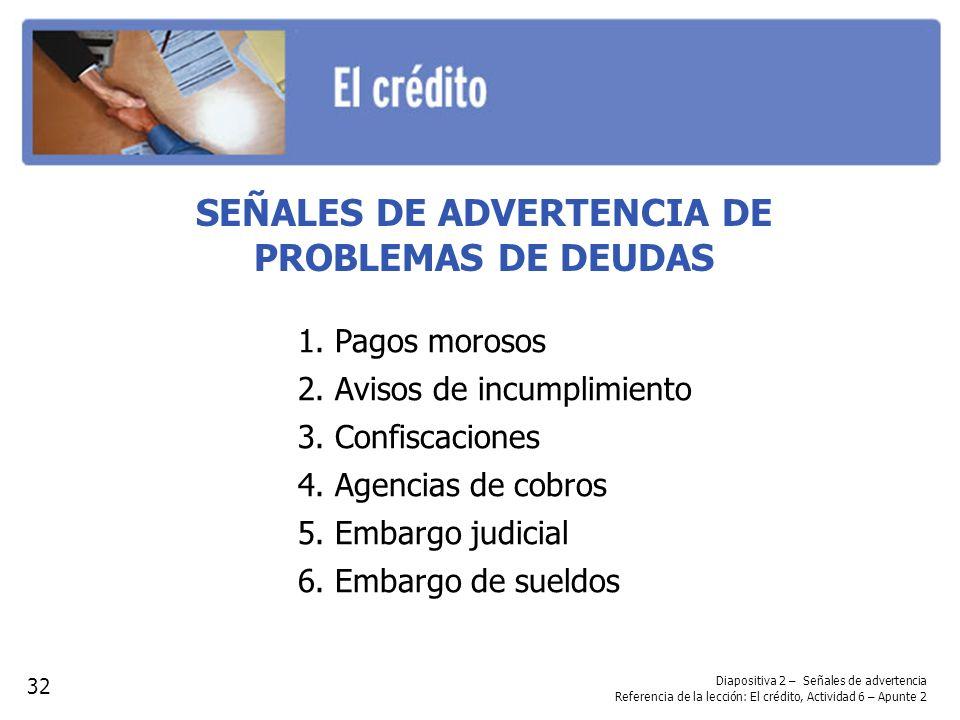 Diapositiva 2 – Señales de advertencia Referencia de la lección: El crédito, Actividad 6 – Apunte 2 SEÑALES DE ADVERTENCIA DE PROBLEMAS DE DEUDAS 32 1.