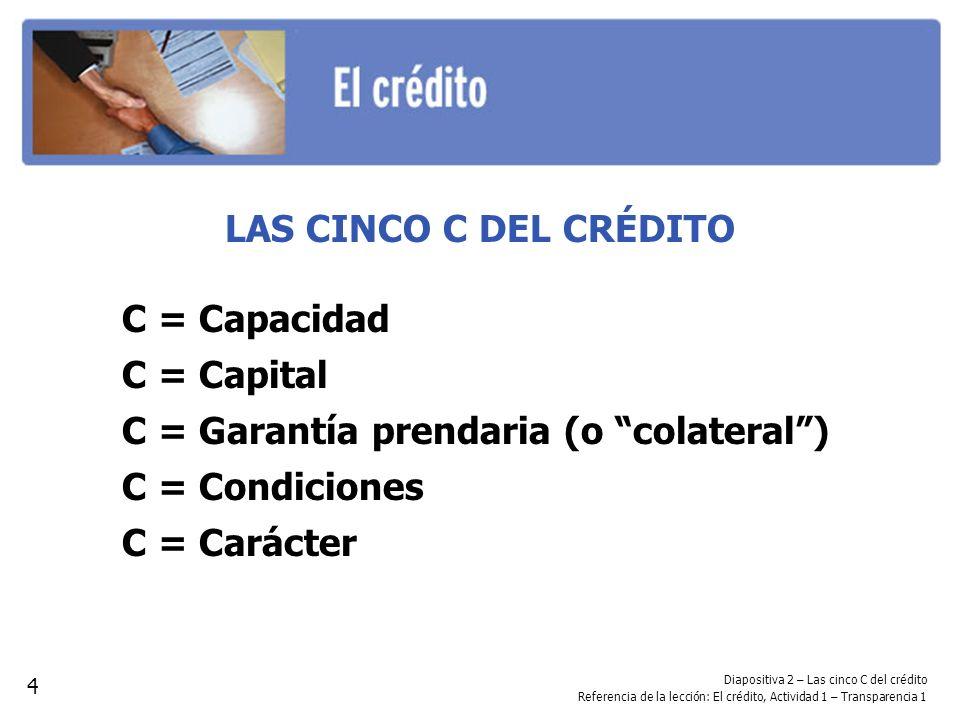 Diapositiva 2 – Las cinco C del crédito Referencia de la lección: El crédito, Actividad 1 – Transparencia 1 LAS CINCO C DEL CRÉDITO C = Capacidad C =
