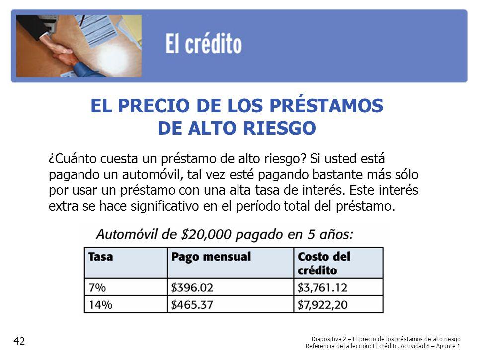 EL PRECIO DE LOS PRÉSTAMOS DE ALTO RIESGO ¿Cuánto cuesta un préstamo de alto riesgo.