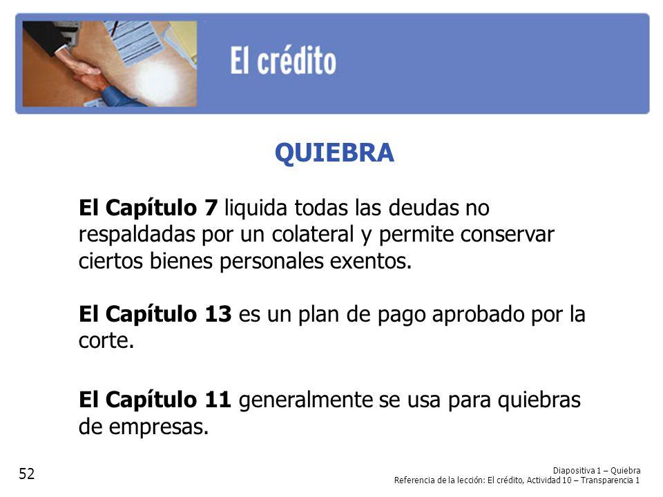 QUIEBRA El Capítulo 7 liquida todas las deudas no respaldadas por un colateral y permite conservar ciertos bienes personales exentos. El Capítulo 13 e