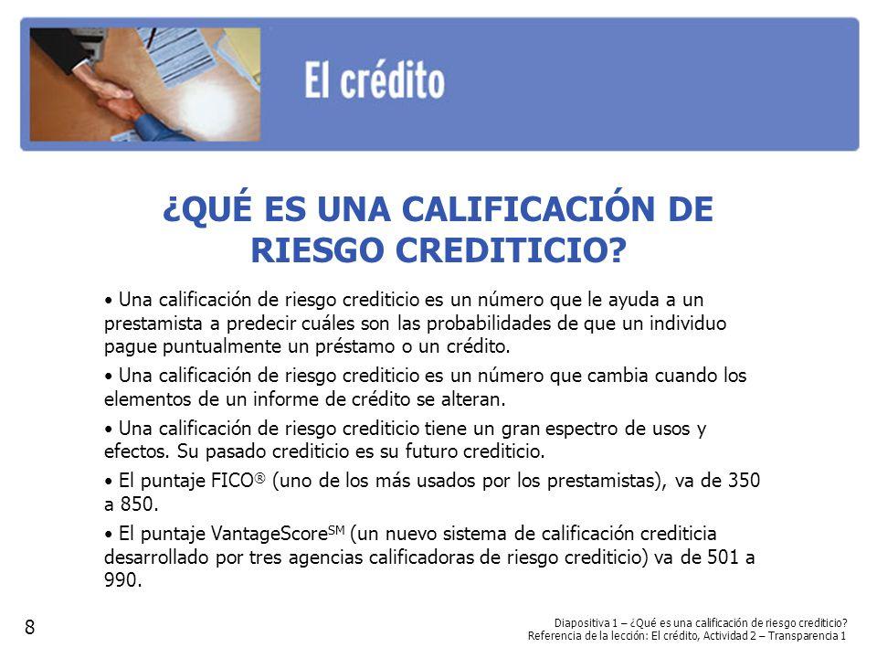 ¿CUÁLES SON LOS COMPONENTES DE UNA CALIFICACIÓN DE RIESGO CREDITICIO.