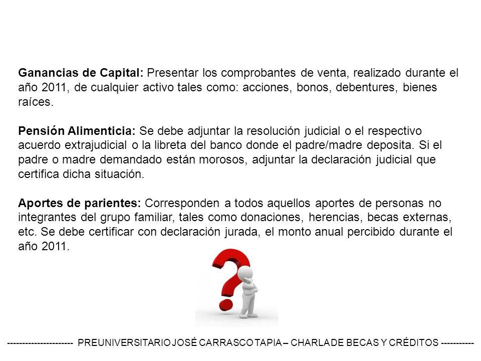 Ganancias de Capital: Presentar los comprobantes de venta, realizado durante el año 2011, de cualquier activo tales como: acciones, bonos, debentures, bienes raíces.