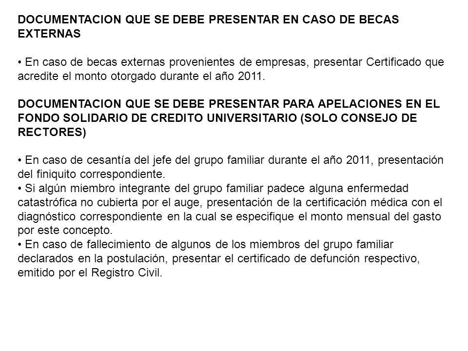 DOCUMENTACION QUE SE DEBE PRESENTAR EN CASO DE BECAS EXTERNAS En caso de becas externas provenientes de empresas, presentar Certificado que acredite el monto otorgado durante el año 2011.