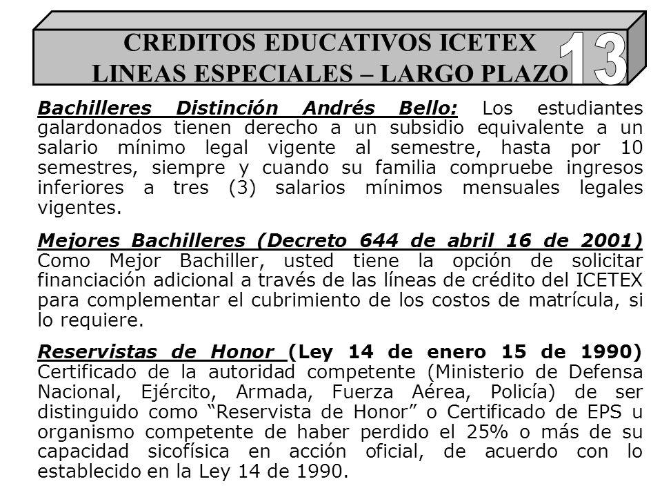 Bachilleres Distinción Andrés Bello: Los estudiantes galardonados tienen derecho a un subsidio equivalente a un salario mínimo legal vigente al semestre, hasta por 10 semestres, siempre y cuando su familia compruebe ingresos inferiores a tres (3) salarios mínimos mensuales legales vigentes.