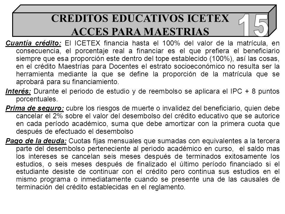 Cuantía crédito: El ICETEX financia hasta el 100% del valor de la matrícula, en consecuencia, el porcentaje real a financiar es el que prefiera el beneficiario siempre que esa proporción este dentro del tope establecido (100%), así las cosas, en el crédito Maestrías para Docentes el estrato socioeconómico no resulta ser la herramienta mediante la que se define la proporción de la matrícula que se aprobará para su financiamiento.