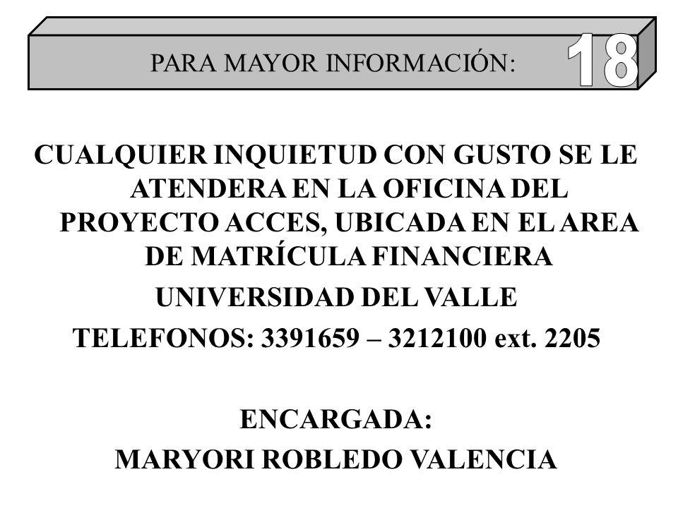 CUALQUIER INQUIETUD CON GUSTO SE LE ATENDERA EN LA OFICINA DEL PROYECTO ACCES, UBICADA EN EL AREA DE MATRÍCULA FINANCIERA UNIVERSIDAD DEL VALLE TELEFONOS: 3391659 – 3212100 ext.