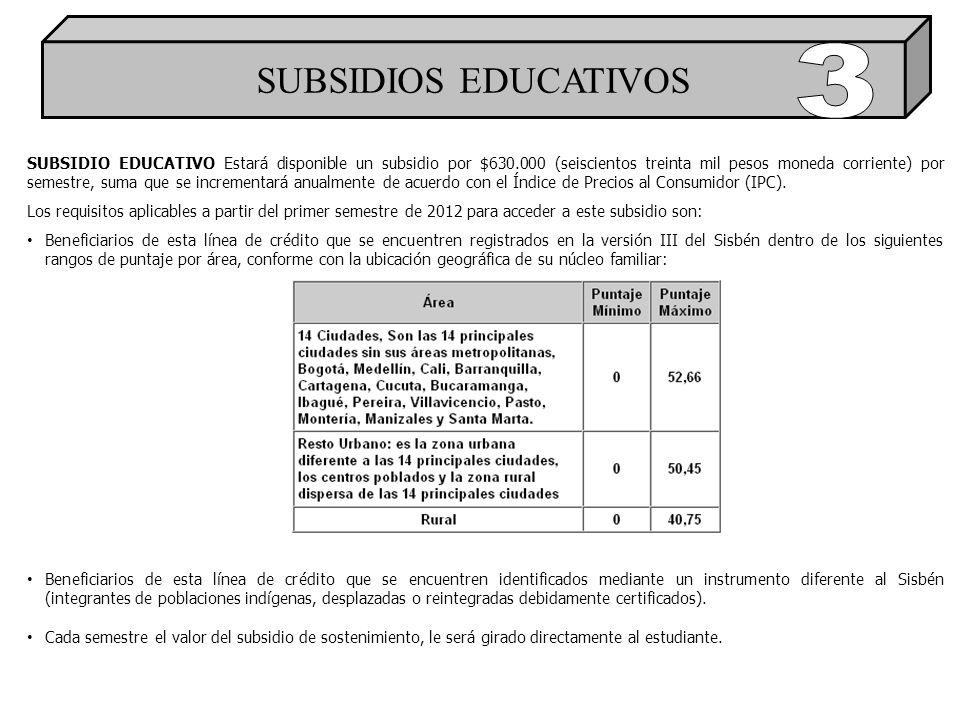 SUBSIDIOS EDUCATIVOS SUBSIDIO EDUCATIVO Estará disponible un subsidio por $630.000 (seiscientos treinta mil pesos moneda corriente) por semestre, suma que se incrementará anualmente de acuerdo con el Índice de Precios al Consumidor (IPC).