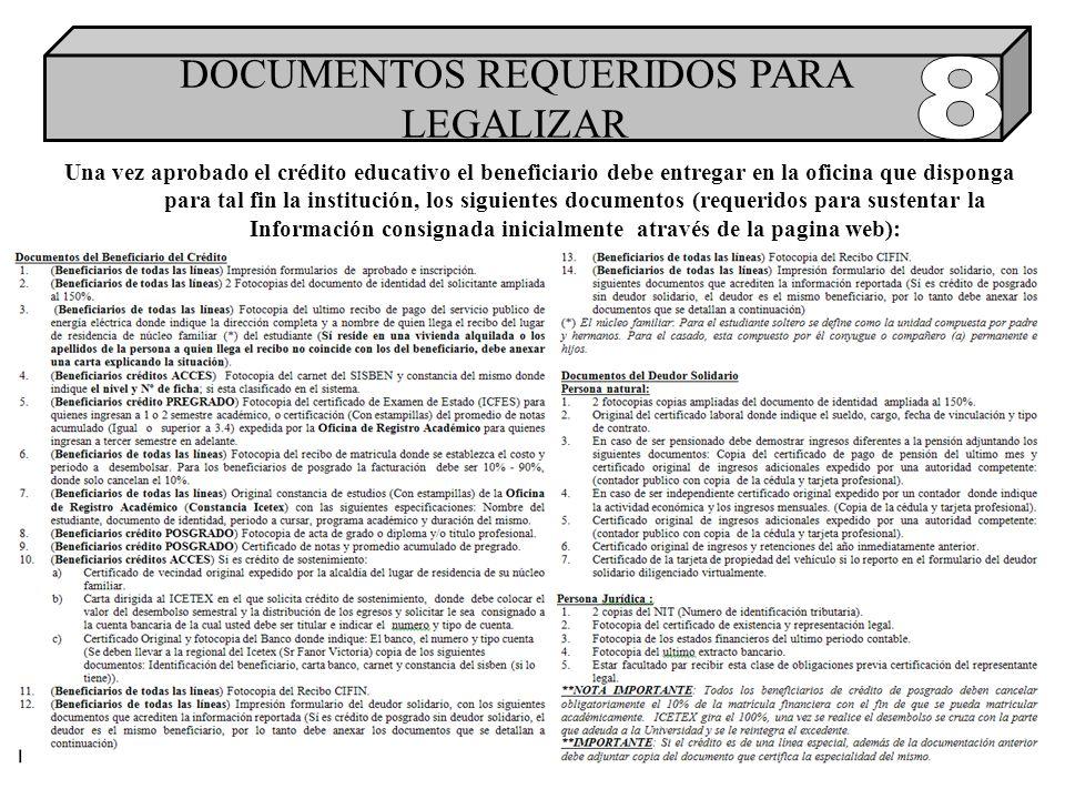 Una vez aprobado el crédito educativo el beneficiario debe entregar en la oficina que disponga para tal fin la institución, los siguientes documentos (requeridos para sustentar la Información consignada inicialmente através de la pagina web): DOCUMENTOS REQUERIDOS PARA LEGALIZAR