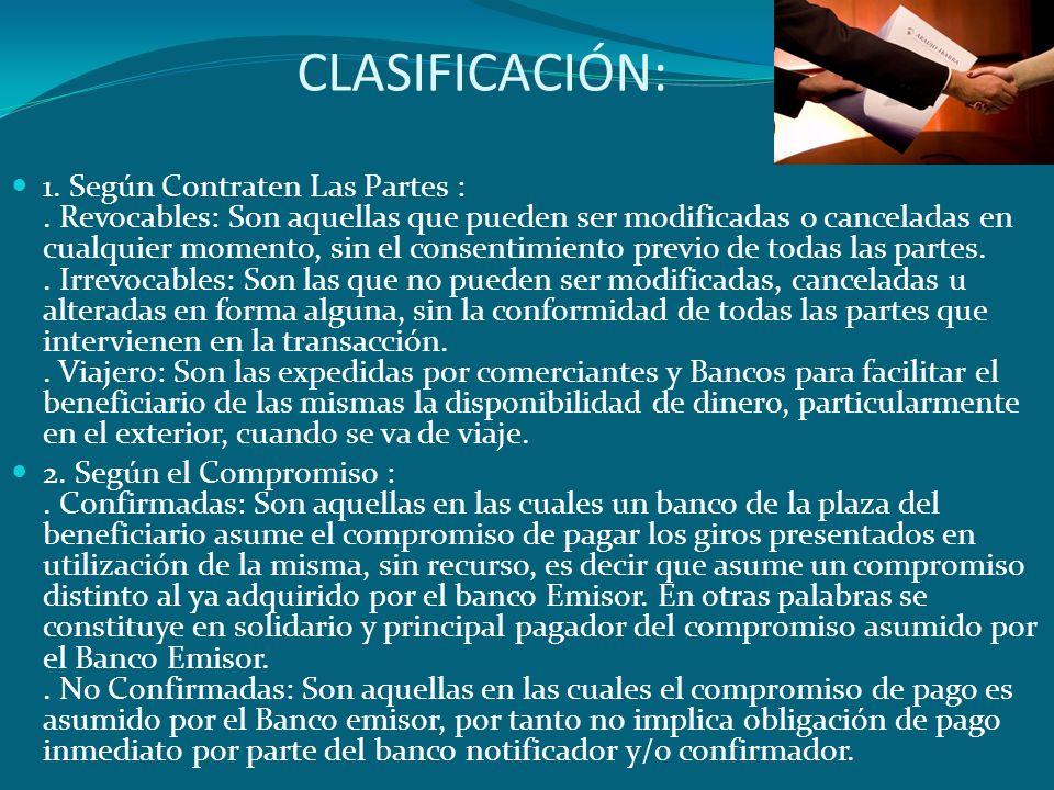 CLASIFICACIÓN: 1. Según Contraten Las Partes :. Revocables: Son aquellas que pueden ser modificadas o canceladas en cualquier momento, sin el consenti
