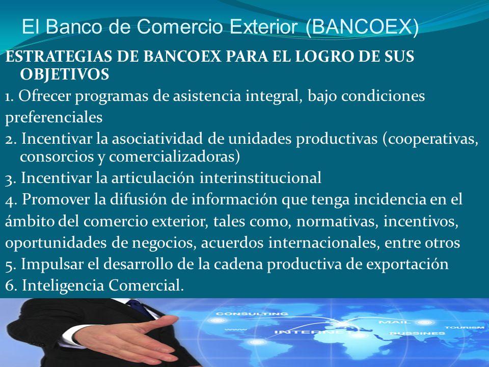 El Banco de Comercio Exterior (BANCOEX) ESTRATEGIAS DE BANCOEX PARA EL LOGRO DE SUS OBJETIVOS 1. Ofrecer programas de asistencia integral, bajo condic