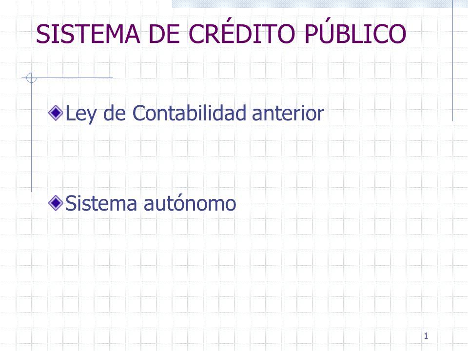 1 SISTEMA DE CRÉDITO PÚBLICO Ley de Contabilidad anterior Sistema autónomo