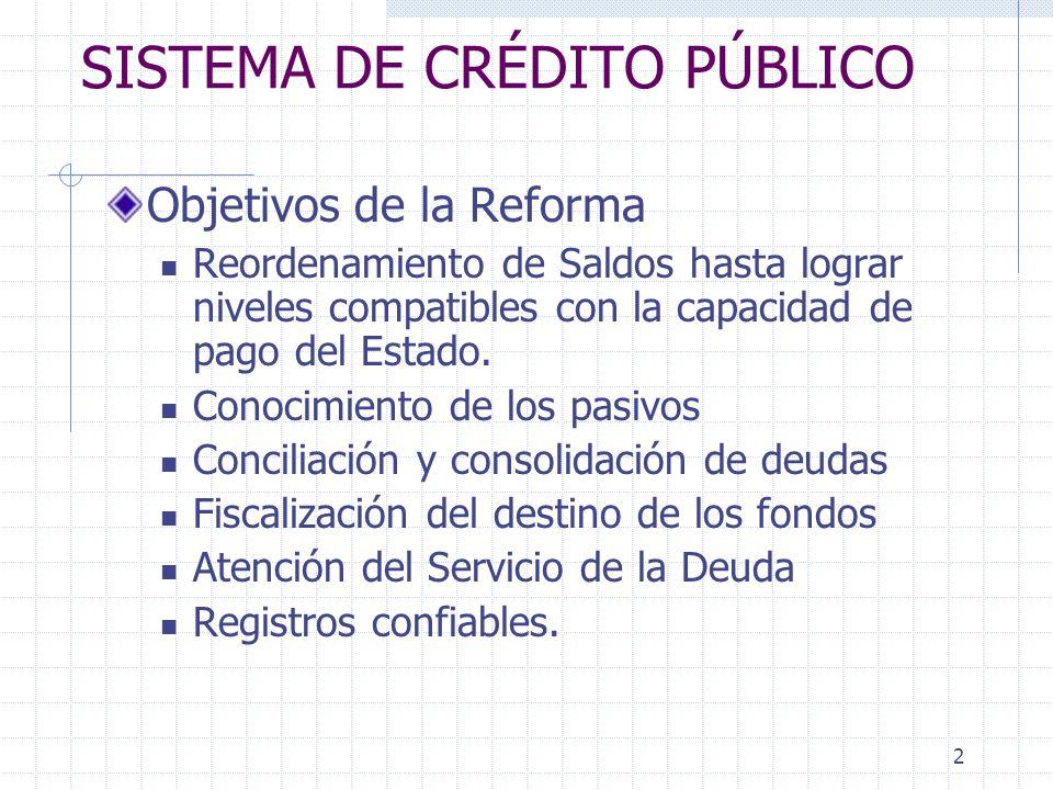 2 SISTEMA DE CRÉDITO PÚBLICO Objetivos de la Reforma Reordenamiento de Saldos hasta lograr niveles compatibles con la capacidad de pago del Estado. Co