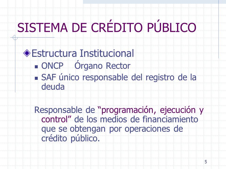 5 SISTEMA DE CRÉDITO PÚBLICO Estructura Institucional ONCP Órgano Rector SAF único responsable del registro de la deuda Responsable de programación, e