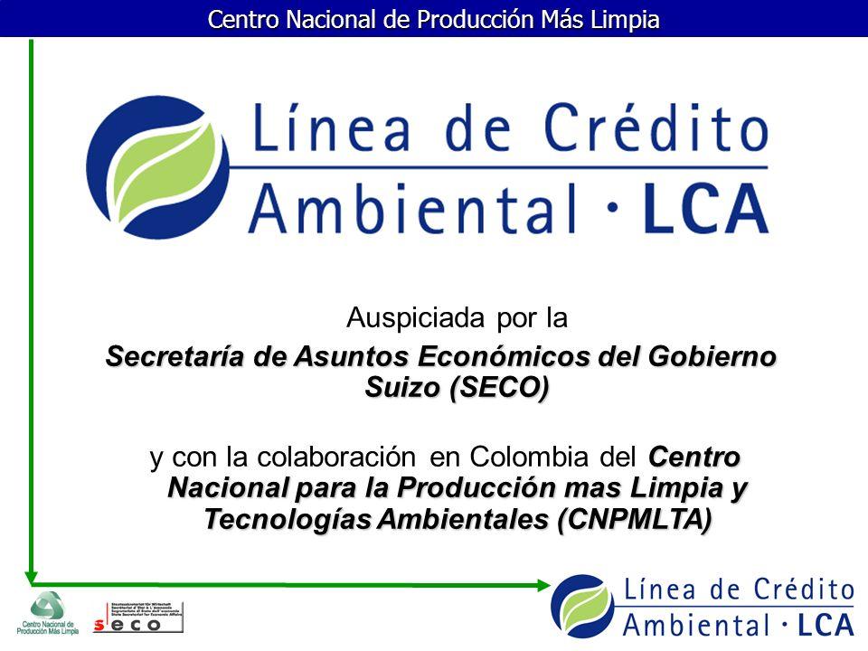 Centro Nacional de Producción Más Limpia Objetivo Promover inversiones en tecnologías más limpias que contribuyan al desarrollo sostenible y se conviertan en ventajas competitivas para las empresas.