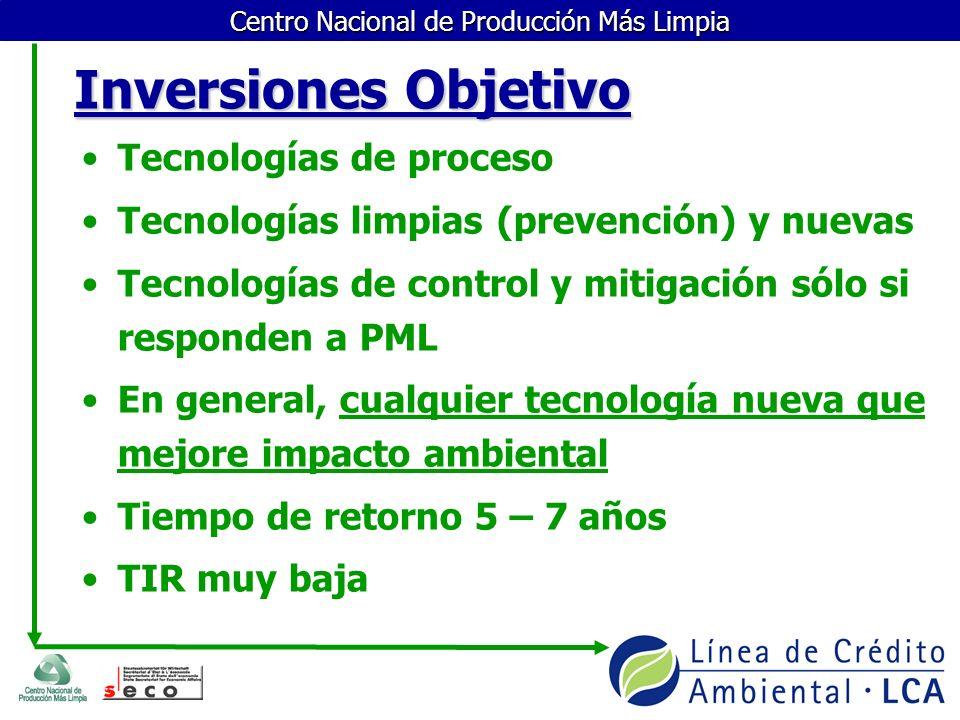 Centro Nacional de Producción Más Limpia Inversiones Objetivo Tecnologías de proceso Tecnologías limpias (prevención) y nuevas Tecnologías de control