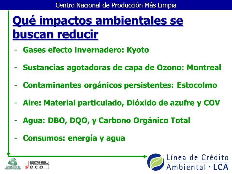 Centro Nacional de Producción Más Limpia Qué impactos ambientales se buscan reducir -Gases efecto invernadero: Kyoto -Sustancias agotadoras de capa de