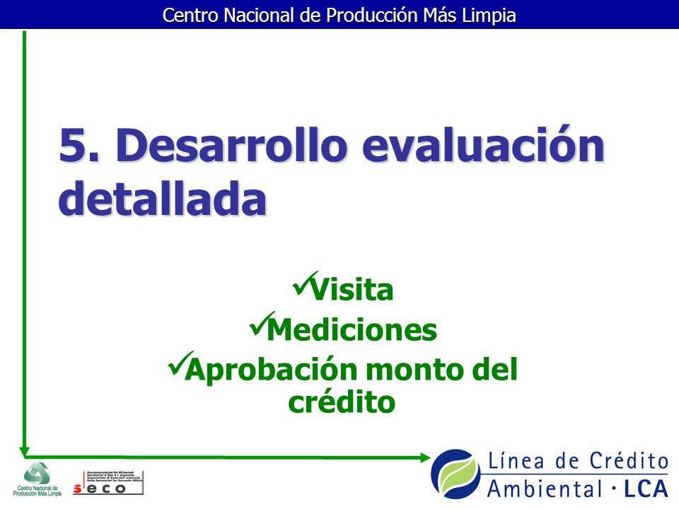 5. Desarrollo evaluación detallada Visita Mediciones Aprobación monto del crédito
